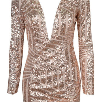 Reina - Rose Gold Plunge Sequin Bodycon Dress