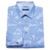 Van Heusen Studio Slim-Fit Blue Paisley Button-Down Shirt