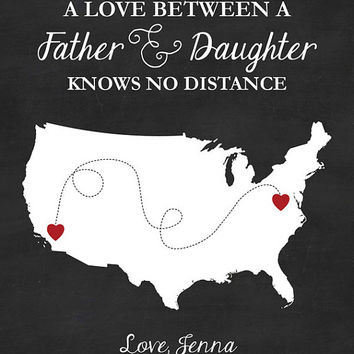 Father Map - Father Gift - Father And Daughter - Gift For Dad - Gift For Father - Father Day Gift - Two States - Dad Birthday Gift