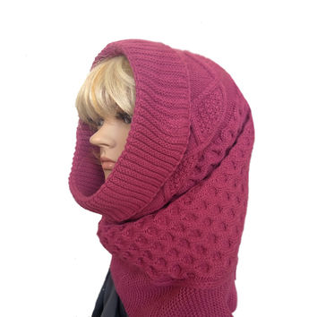 Women's Hooded Cowl - Knitted Winter Snood Scarf