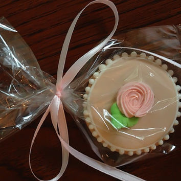 Decorated wedding cookies Mother's Day rosette blush pink spring cookies birthday bridal shower wedding favors baby shower