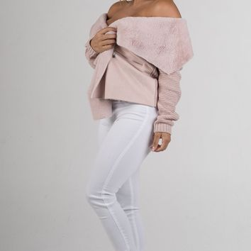 Blush Faux Fur with Knitted Back Jacket