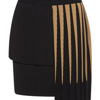 Fausto Puglisi Pleated Asymmetrical Knit Skirt Camel/Black