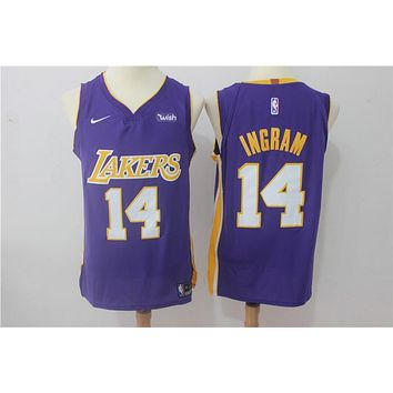 NBA Authentic Basketball Player Jerseys Los Angeles Lakers # 14 Brandon Ingram Purple