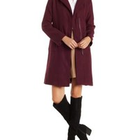 Wine Longline Wool-Blend Trench Coat by Charlotte Russe
