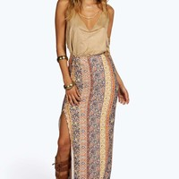 Melanie Ethnic Print Slit Side Maxi Skirt