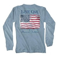 Vintage Flag USA Long Sleeve Tee in Ice Blue by Live Oak