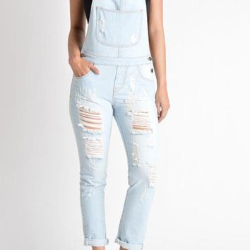 Women's Distressed Boyfriend Fit Overalls RJHO437 - J4B