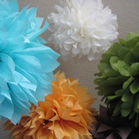10 Tissue Poms Pom Flowers - Mixed Sized - Choose your Custom Colors - DIY Portlandia Photography Backdrop Newborn