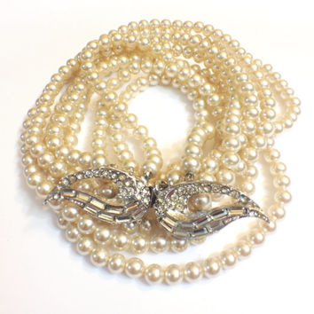 Vintage Four Strand Pearl Necklace with Rhinestone Cat's Eye Clasp, 1950s, 1960s