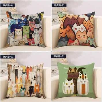 Lots of Art Cat Great Cartoon Painting Kids Pillow Cover Massager Decorative Pillows Warm Home Decor Kids Gift Casee