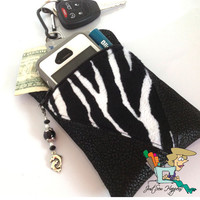 Black Vegan Leather with Zebra Print Inset Belt Loop Pouch Phone Case  with Beaded Zipper Pull