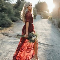Sheer Retro Boho Maxi Dress