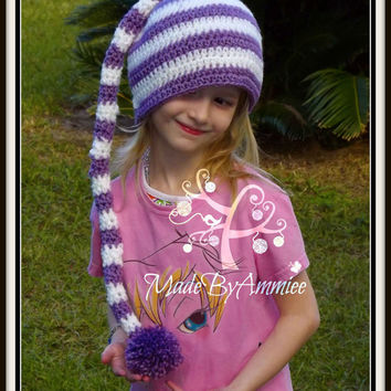 Crochet Kids Teens Adults Long Tailed Pom Pop Hat, Crochet Striped Beanie, Holiday Hat, Winter Cap, Girly Knit Hat