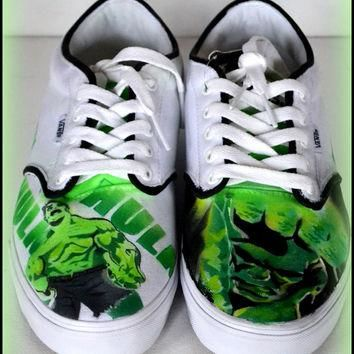 Mens Shoes, Mens Painted Vans/Converse/Generic Shoes, Vans, Converse, Hulk, Incredible