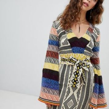 Free People Patchwork mini jumper dress at asos.com