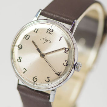 Silver shiny shades men's wrist watch Ray ultra slim watch silver State Quality Mark of the USSR