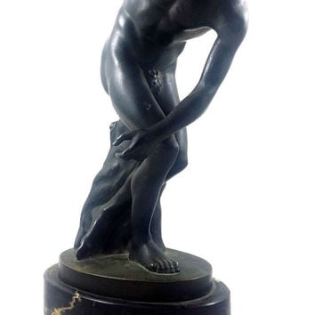 BRONZE Discobolus Sculpture STATUE Greek Roman Marble Base Art Deco Style Nude