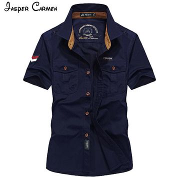 AFS Jeep 2017 Summer New Men's Short Sleeve Shirt Casual Pure Color Lapel Cotton Fashion Comfortable Breathable Shirt 80