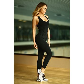 Fashion Sportswear 2017 Summer Sexy Jump Suits Woman Elastic Bandage Pants Back Hollow Skeleton Bodysuit Women 4 Colours
