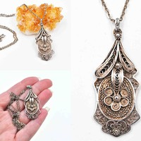 Vintage 900 Silver Filigree Pendant Necklace, 800 Silver Cable Chain, European, Ornate, Intricate, 23 1/2 Inches, So Lovely! #c606
