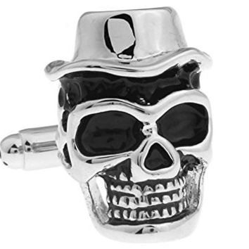 Mens Executive Cufflinks Fancy Life Dead Top Hat Skull Face Cuff Links