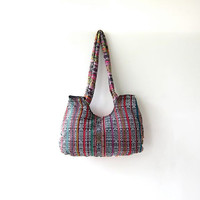vintage ethnic purse. tribal shoulder purse. floral ikat bag.