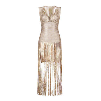 Metallic Gold Tassel Maxi Sexy Rayon Bandage Dress