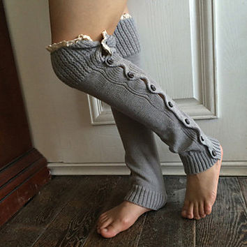 Winter Knit Leg Warmers with Lace Trim and Buttons, Choice of Colors