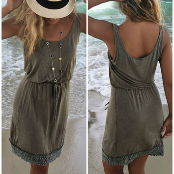 San Pedro Town Olive Light Acid Wash Tank Dress