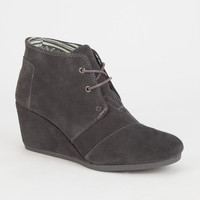 Toms Suede Womens Desert Wedges Charcoal  In Sizes