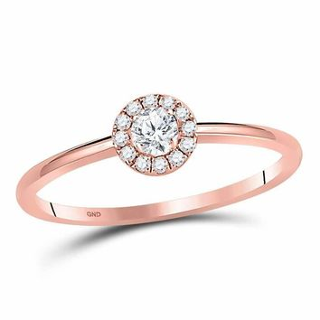 10k Rose Gold Women's Round Diamond Solitaire Bridal Ring