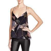 Elizabeth and James Womens Luella Silk Patchwork Print Tank Top