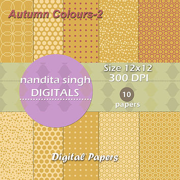 Autumn Coloured Instant Downloadable Digital Papers,Scrapbooking,Backgrounds,Patterns,Fall,Mustard,Dark Pink,Personal and Commercial Use