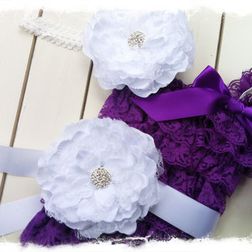 Purple Petti Romper with Large White Peony Flower Sash and Headband-Girls Wedding Apparel-Photo Prop