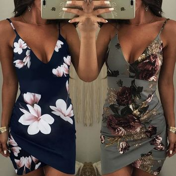 Women Print Backless Bodycon Slip Dress Fashion Irregular Floral Ruched Dress