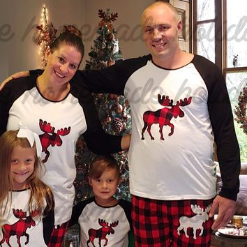 Plaid Moose Christmas Pajama Set