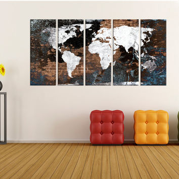extra Large abstract wall art, world Map Canvas Print wall art, extra large wall art, original canvas mid century wall decals home decor 736