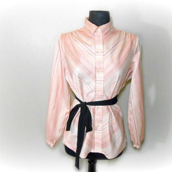 CLEARANCE Silky Blouse Button Up Shirt Striped Long Sleeve Office Secretary Blouse SIZE Medium / Large