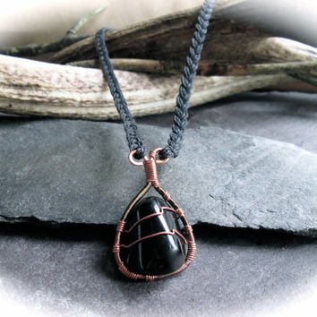 Obsidian Crystal Necklace, Wire Wrapped Copper Bronze Pendant on Braided Hemp, Black Stone Necklace