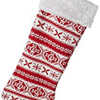 "22"" Alpine Chic Red and White Snowflake Design Knit Christmas Stocking with White Faux Fur Cuff"