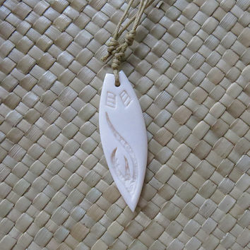 Surf Board Bone carved Pendant, Bone necklace, Bali Bone Carving Jewelry