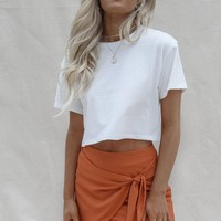 Gravity White Short Sleeve Crop T-Shirt