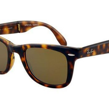 Ray Ban RB4105 Folding Wayfarer Sunglasses Light Havana Frame Cr-1