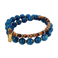 Clarity and Prosperity, Sapphire Jade and Tiger's eye 27 bead wrap mala bracelet™