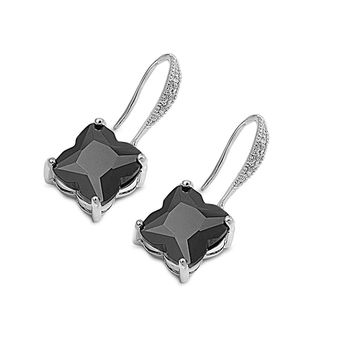 Sterling Silver Princess Cut Dangle Black CZ 16MM Earrings