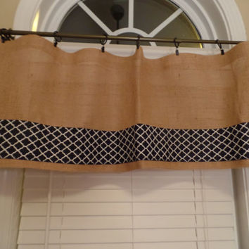 "Burlap Curtain Valance with  4"" Navy Chevron  Trim, window treatment, burlap curtain"