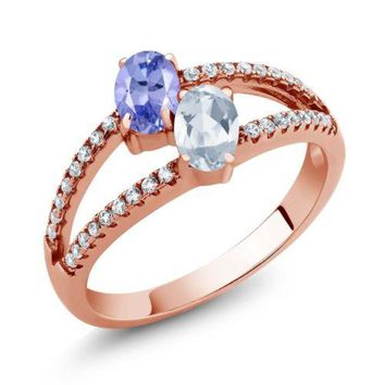 1.36 Ct Blue Tanzanite Sky Blue Topaz Two Stone 18K Rose Gold Plated Silver Ring