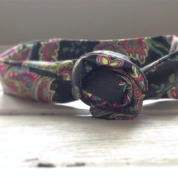 Hippie Boho Paisley Summer Concert Hippie Twist Head Scarf Dolly Bow Wire Headband Bun Wrap