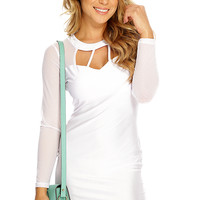 White Mesh Long Sleeve Cent Cut Out Party Dress